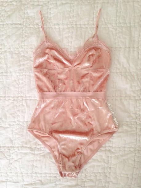 underwear lingerie velvet bodysuit pink pastel one piece