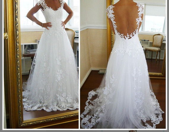 Custom make wedding dress  open back lace wedding by dresstrend