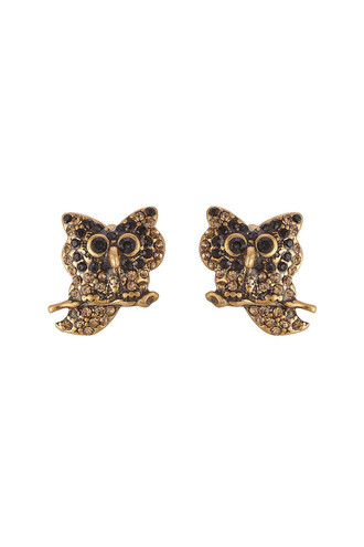 owl embellished earrings gold jewels