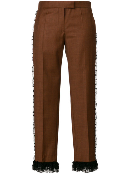 Marco De Vincenzo cropped women wool brown pants