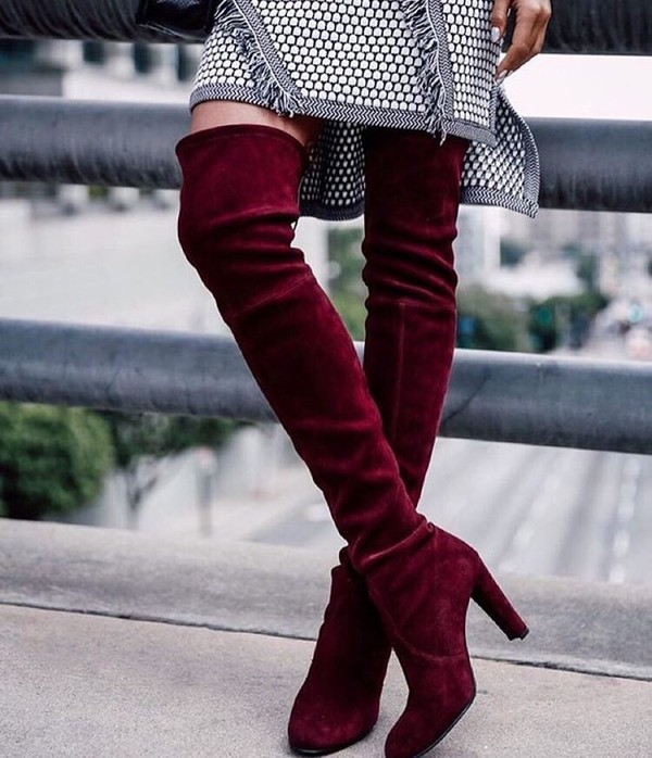 Red wine thigh high over the knee boots