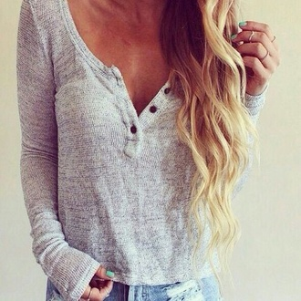 buttons thin blouse t-shirt bottons button down crop tops long sleeves top long sleeve shirt loose fitting grey t-shirt