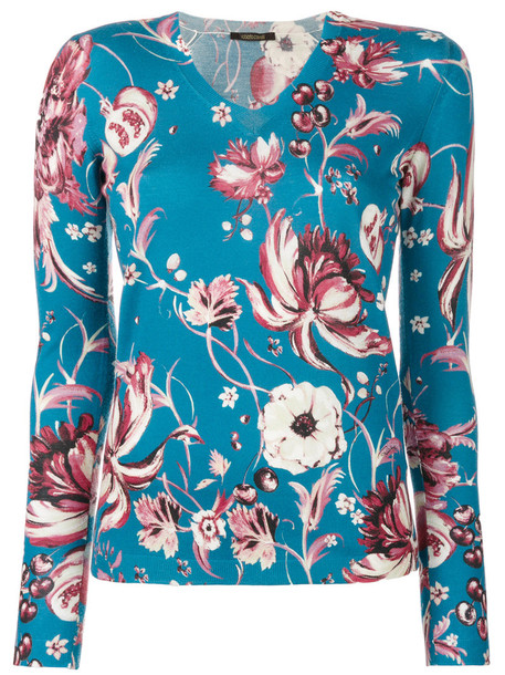 Roberto Cavalli top women floral print blue silk wool