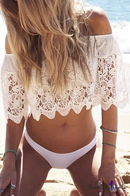 2016 New Women's Sexy Off the Shoulder Lace Crop Top