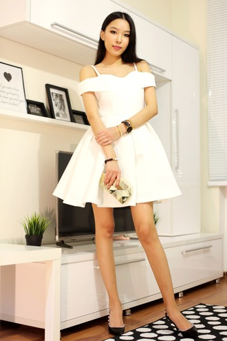 aibina's blog blogger jewels off the shoulder white dress midi dress black heels