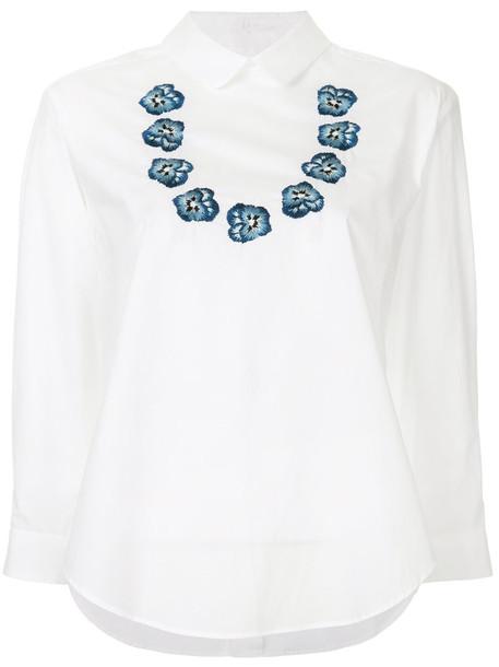 Miyao blouse women floral white cotton top