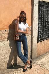 jeans,straight jeans,ballet flats,white t-shirt,handbag,black sunglasses