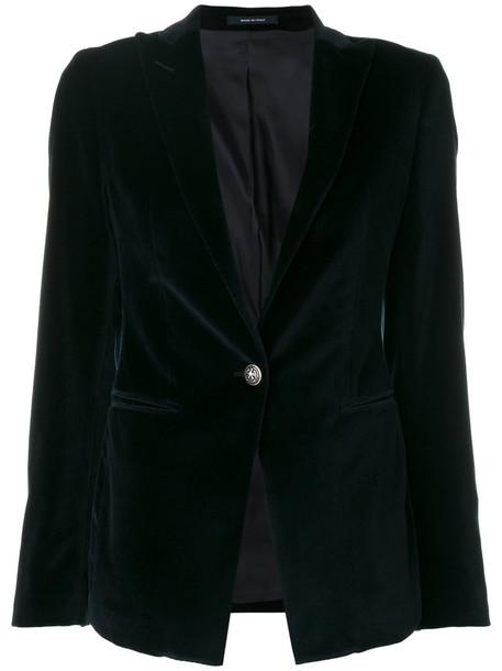 TAGLIATORE blazer women spandex cotton blue velvet jacket