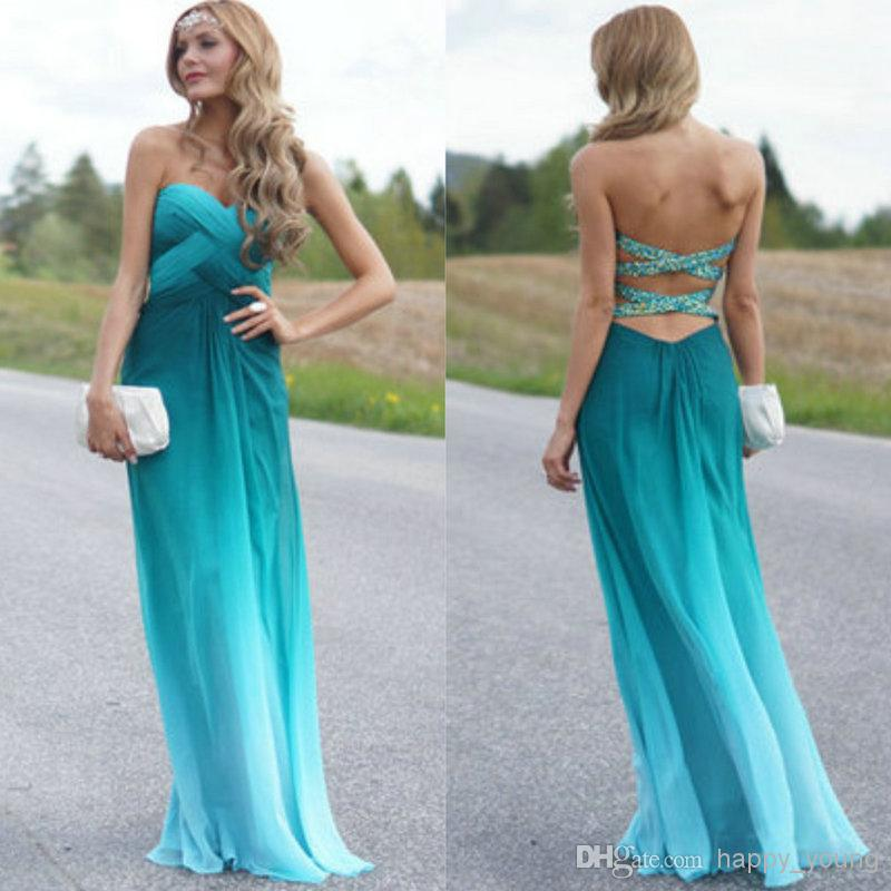 Discount Cheap Price Print Chiffon Floor Length Sweetheart Cheap Prom Dresses Party Gowns Gradient Prom Dress Online with $99.59/Piece | DHgate