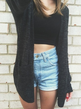 denim shorts grey cardigan black crop top high waisted shorts