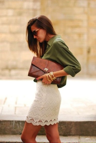 bag leather bag clutch shirt skirt white lace skirt lace skirt white skirts collar/button-up shirt leather brown bag vintage bag olive green