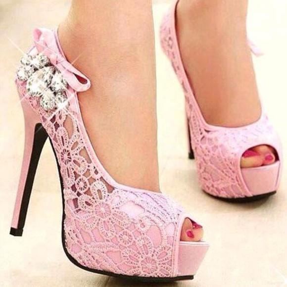 shoes heels pumps pink shiny heels pink lace heels girly cute feminine kawaii diamonds shiny bows pumps