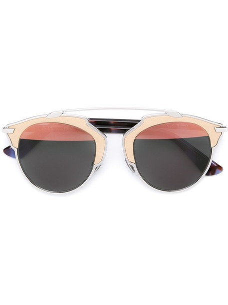 metal women sunglasses leather grey metallic