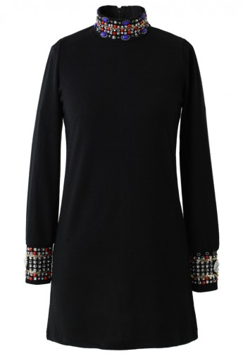 Beads and Crystal Embellished Polo Neck Top - Retro, Indie and Unique Fashion