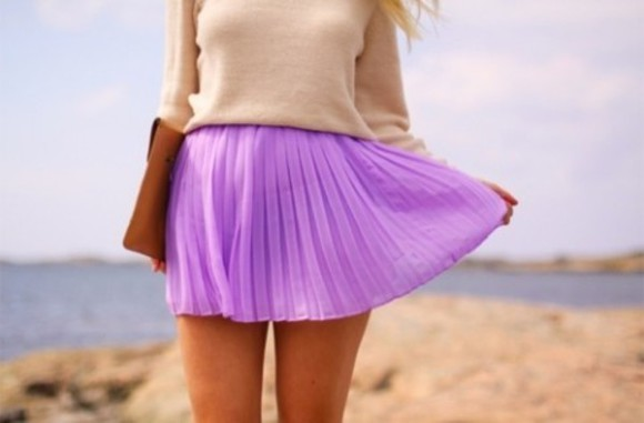 clutch style purple pleated skirt cute