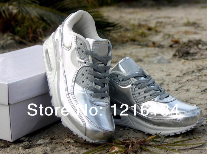 Free shipping 2014 New men 90SP liquid gold Running Shoes men 90SP liquid silver trainer shoes men Athletic shoes tennis shoes-in Running Shoes from Sports & Entertainment on Aliexpress.com