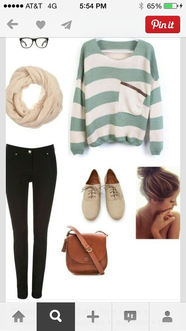 sweater stripes clothes clothes shoes bag jeans scarf