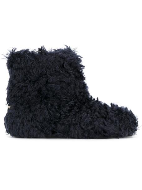 Miu Miu shearling boots women mohair leather cotton blue shoes