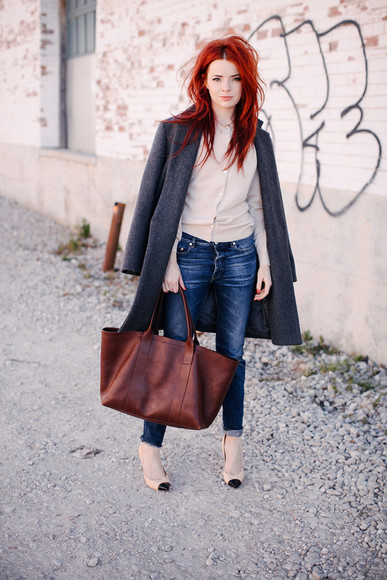 sea of shoes bag shoes sweater coat jeans
