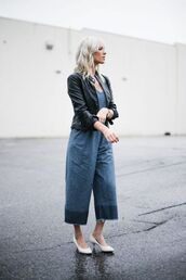 jumpsuit,tumblr,cropped jumpsuit,denim jumpsuit,blue jumpsuit,black leather jacket,leather jacket,black jacket,pumps,mid heel pumps,white shoes,shoes,kitten heels