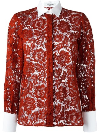 shirt lace floral red top