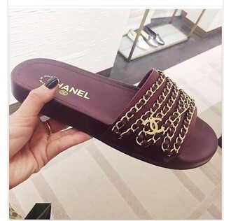 shoes chanel sandals slippers burgundy gold
