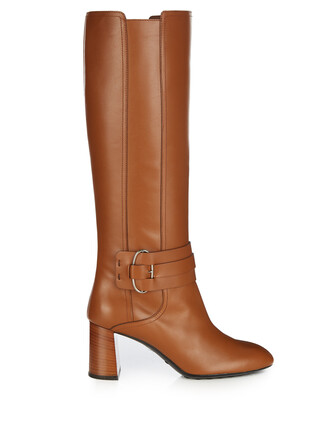 knee-high boots high boots leather tan shoes