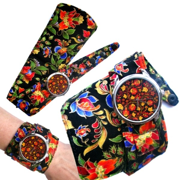 jewels watch watch soft watch cotton strap beautiful watch unusual watch unique watch colourful watch designer watch ziz watch ziziztime floral watch floral