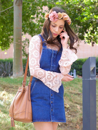cost with me blogger denim dress lace top flower headband coachella spring outfits