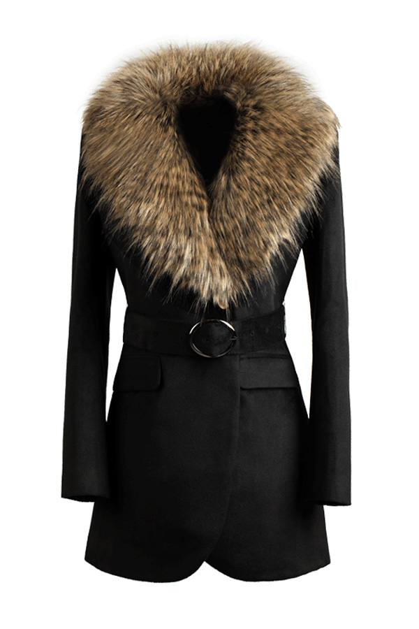 Fur Collar Black Belted Coat - OASAP.com