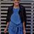 Dark Blue Twist Front Curved Hem Denim Shift Mini Dress