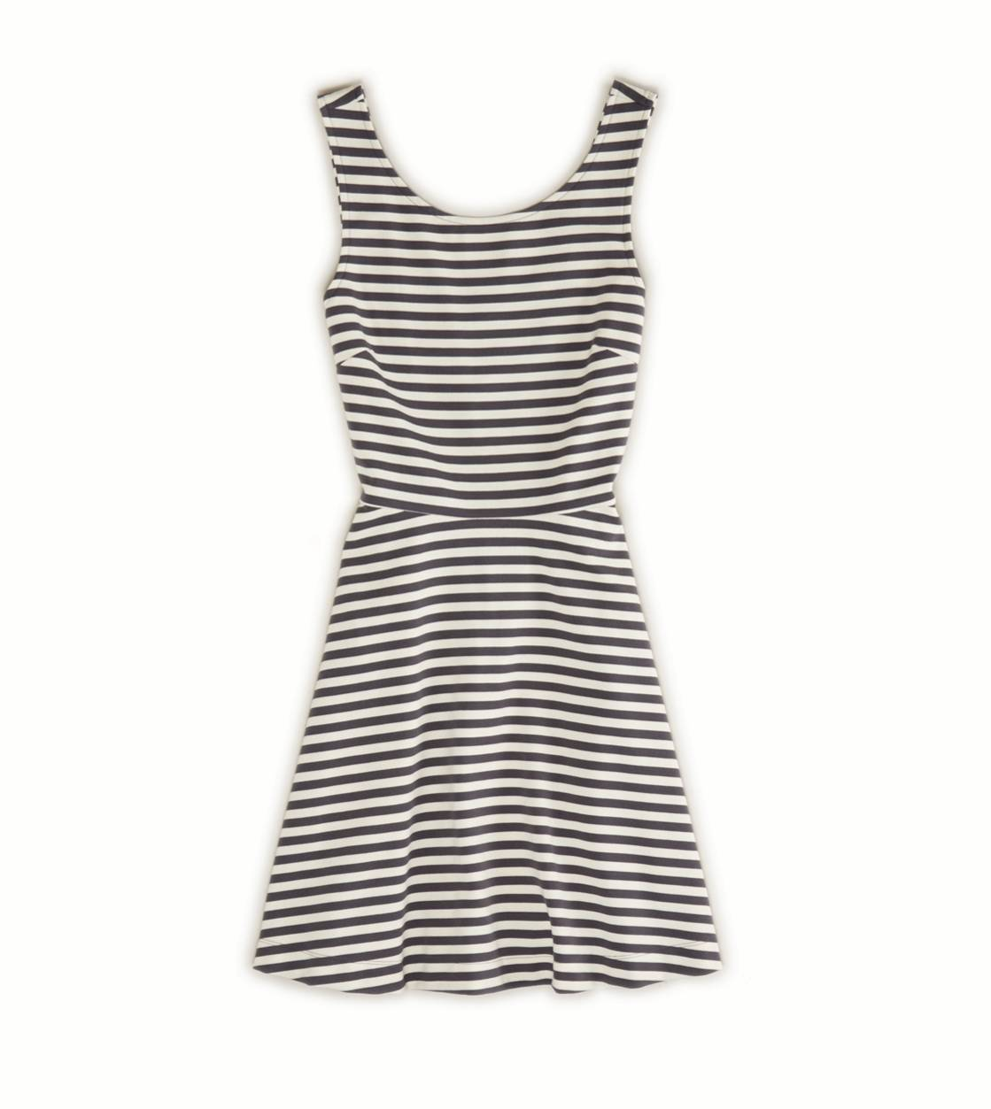 Ae striped fit & flare dress