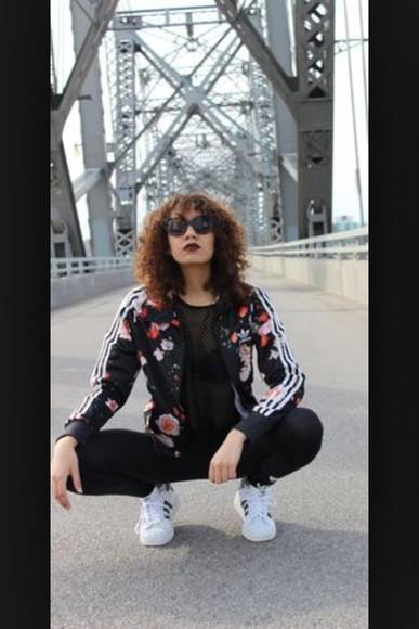 black floral shorts floral fashion jacket adidas jacket adidas adidas wings