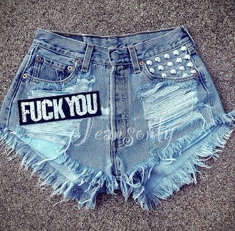 shorts fuck you shorts ripped denim ripped shorts denim shorts denim studs studded style studded shorts cute shorts cute graphic shorts f u acid washed shorts short shorts torn shorts cut offs funny jeans