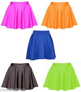 Ladies womens neon fluro wet look skater skirt mini short plain shiny flared