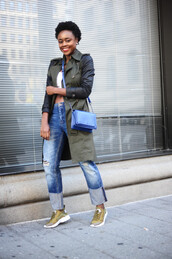 skinny hipster,blogger,blue bag,crossbody bag,fall outfits,green coat,sneakers,black girls killin it,trench coat,ripped jeans,army green sneakers,outfit idea