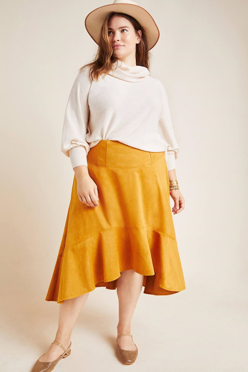 Cosima Flounced Midi Skirt by Maeve in Gold