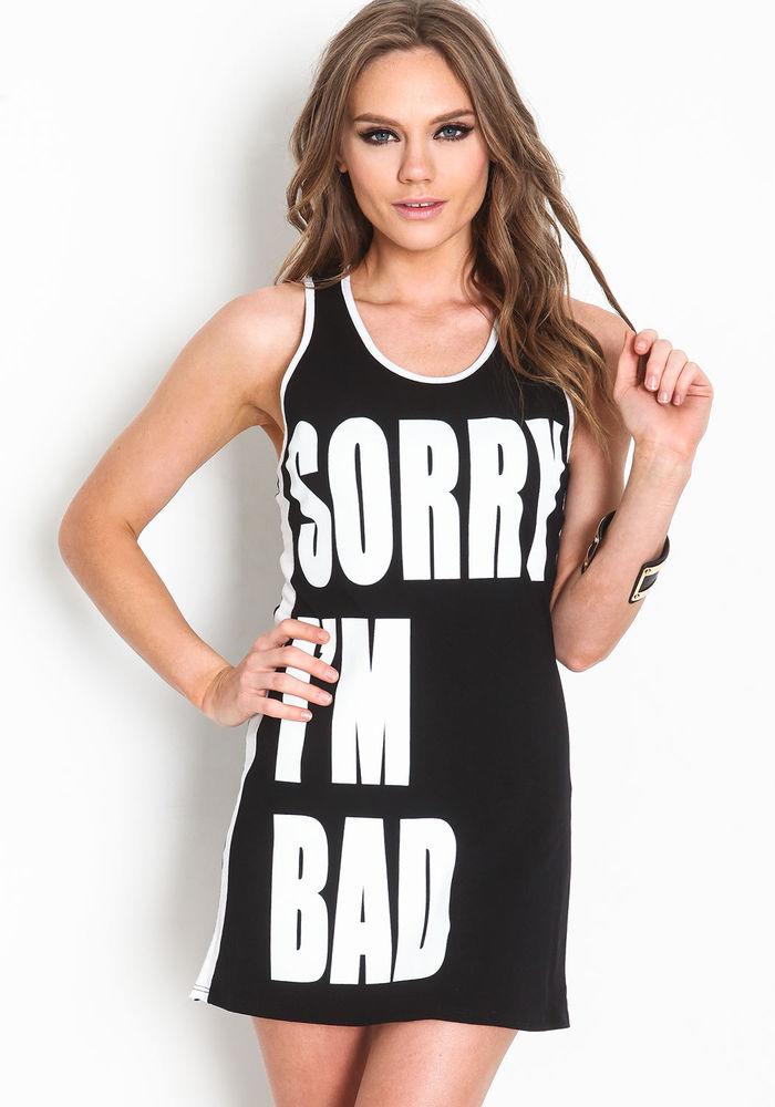 New! trendy sorry i'm bad graphic mini dress