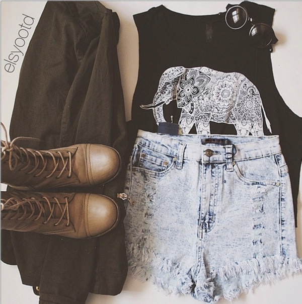 shirt elephant boots glasses cardigan jacket tank top shoes sunglasses denim shorts shorts