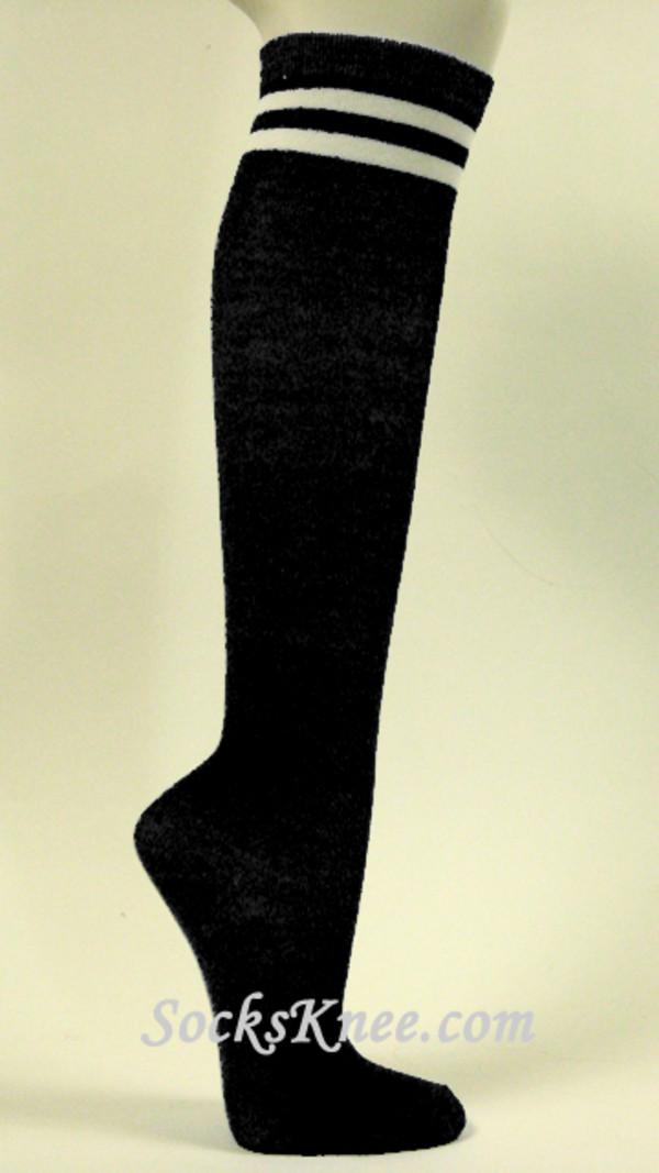 underwear under the knee socks black socks black knee socks black and white socks two stripes socks knee high socks high socks knee high socks black black long socks white white socks stripes white stripes.