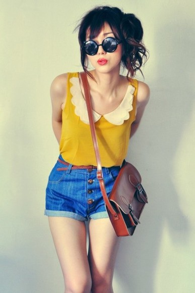 blouse scalloped mustard yellow sunglasses