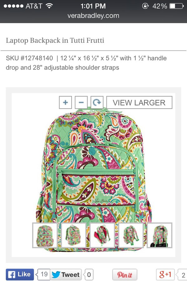 bag tuttifrutti vera bradley backpack