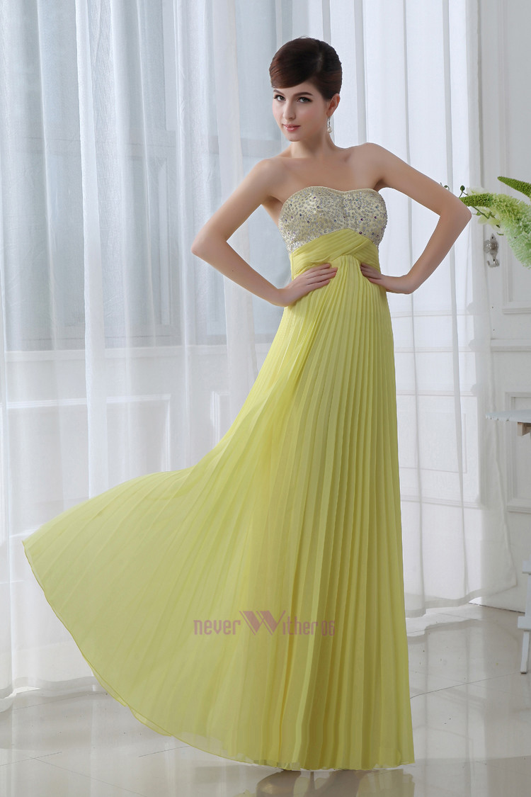 Cheap Yellow Beads Chiffon Long Evening Dresses Gowns Prom Dresses ...