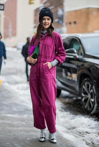 jumpsuit nyfw 2017 fashion week 2017 fashion week streetstyle pink jumpsuit cropped jumpsuit boots metallic metallic shoes bag green bag beanie black beanie
