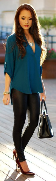 leggings blouse jewels pants blue