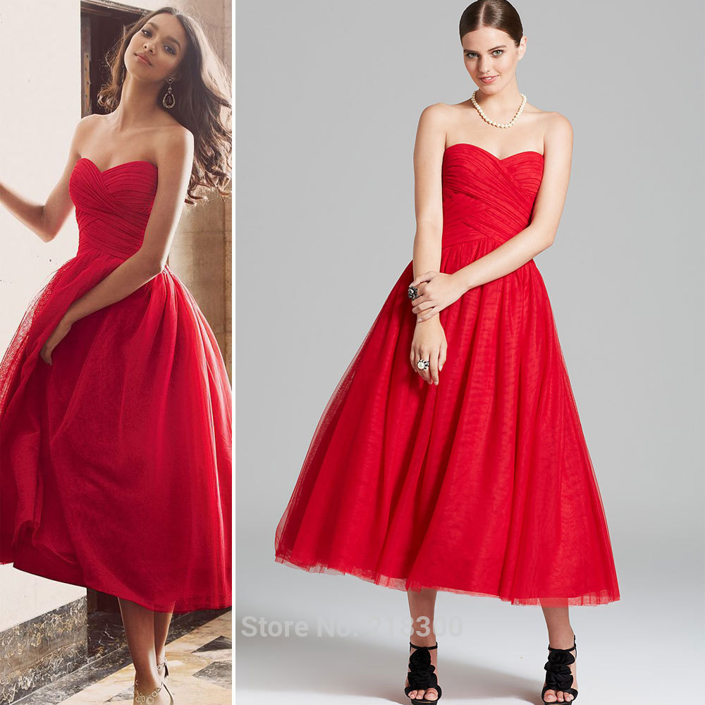 9e037784453 Aliexpress.com   Buy Vintage red tea length prom dresses ball gown  sweetheart homecoming dresses cocktail dress ...