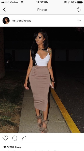 dress tan skirt white crop tops