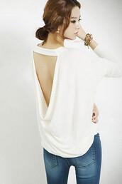 t-shirt,backless,drape top,white top,draped dress