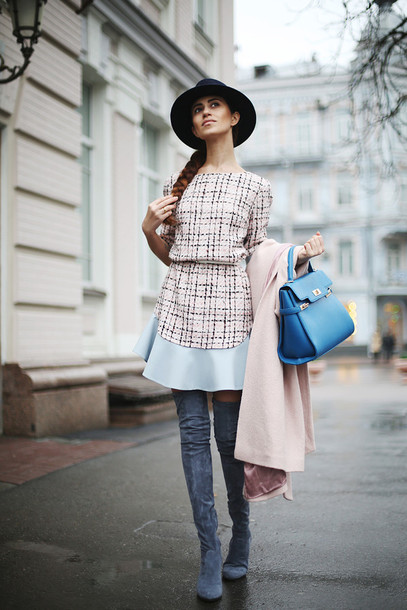 tina sizonova blogger dress bag suede boots thigh high boots grey boots blue bag