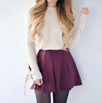 skirt maroon/burgundy pleated skirt sweater jumper white cream wine red purple burgundy tights black girl hot pretty cute nice short long loose baggy knit crochet dress red ivory nude cropped sweater